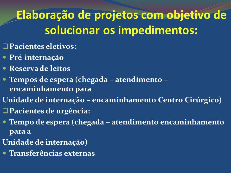 Elaboração de projetos com objetivo de solucionar os impedimentos: