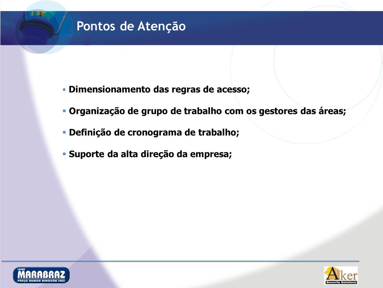 Pontos de Atenção Dimensionamento das regras de acesso; Organização de grupo de trabalho com os gestores das áreas;