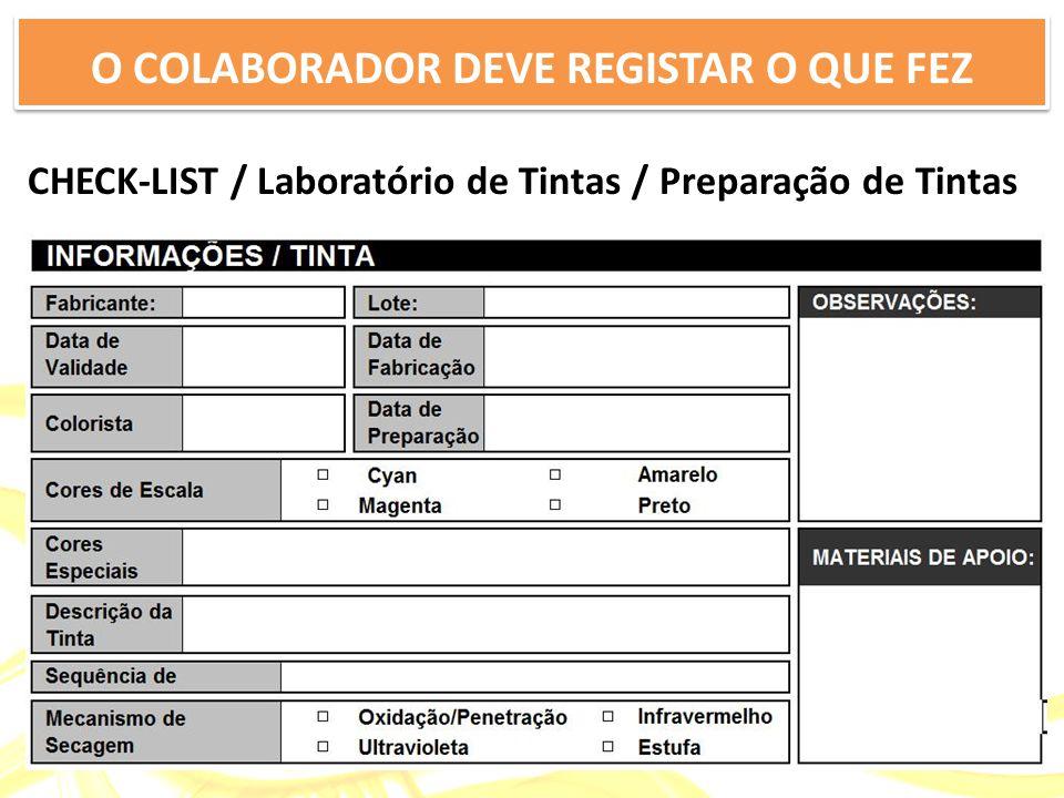 CHECK-LIST / Laboratório de Tintas / Preparação de Tintas