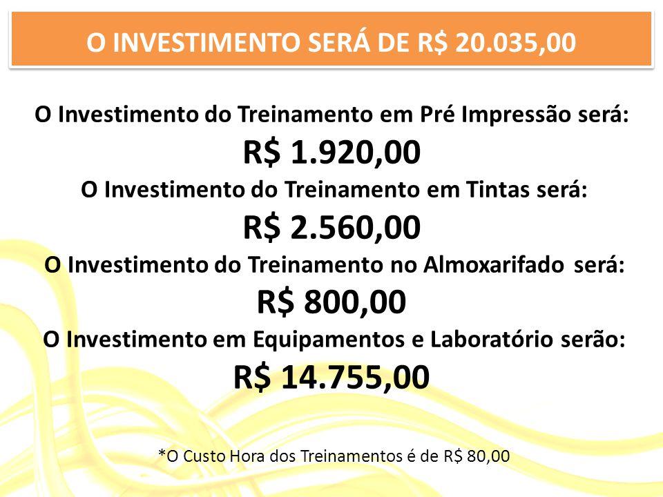 O INVESTIMENTO SERÁ DE R$ 20.035,00