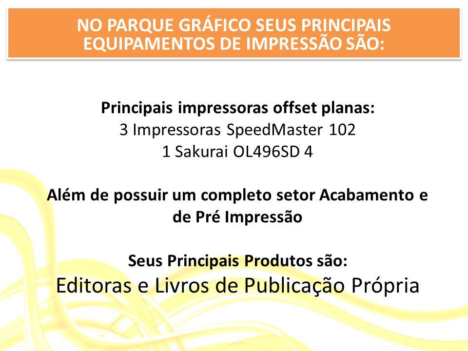 NO PARQUE GRÁFICO SEUS PRINCIPAIS EQUIPAMENTOS DE IMPRESSÃO SÃO: