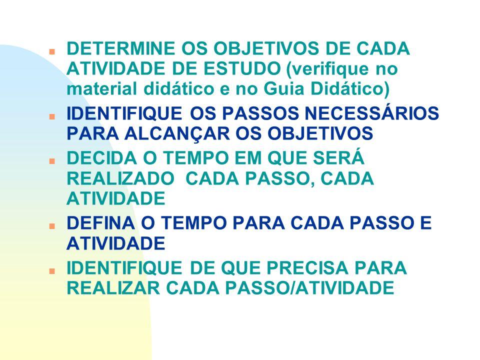 DETERMINE OS OBJETIVOS DE CADA ATIVIDADE DE ESTUDO (verifique no material didático e no Guia Didático)
