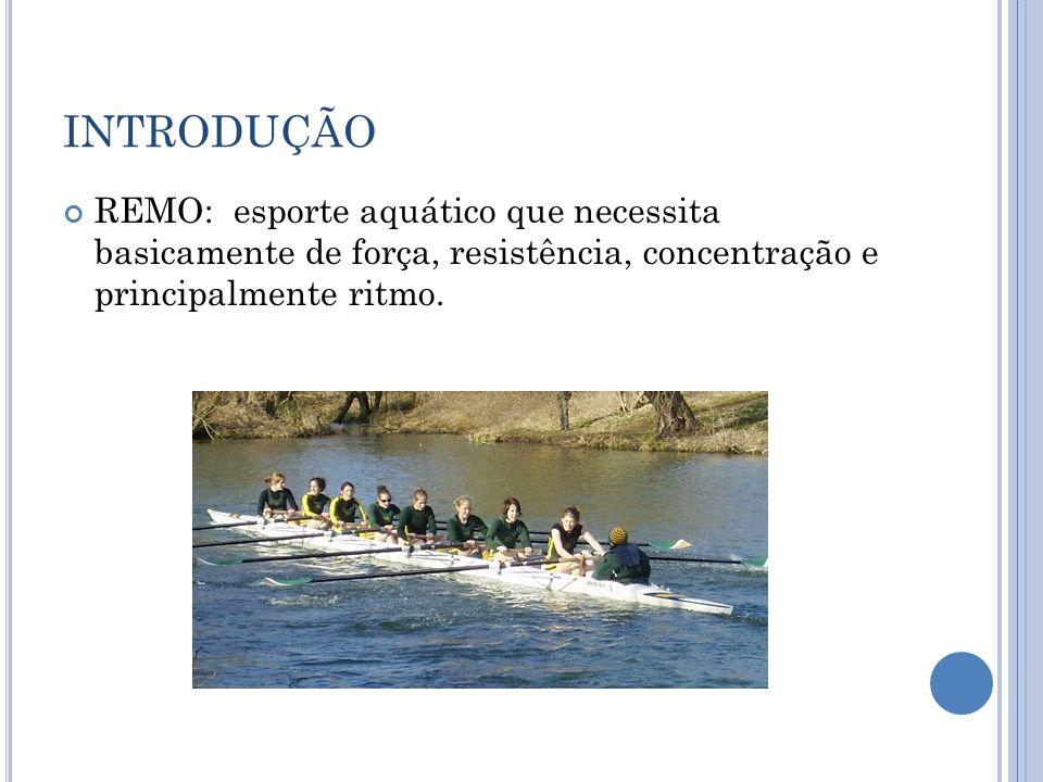 INTRODUÇÃO REMO: esporte aquático que necessita basicamente de força, resistência, concentração e principalmente ritmo.
