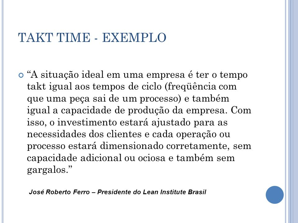 TAKT TIME - EXEMPLO