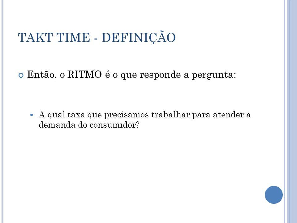 TAKT TIME - DEFINIÇÃO Então, o RITMO é o que responde a pergunta: