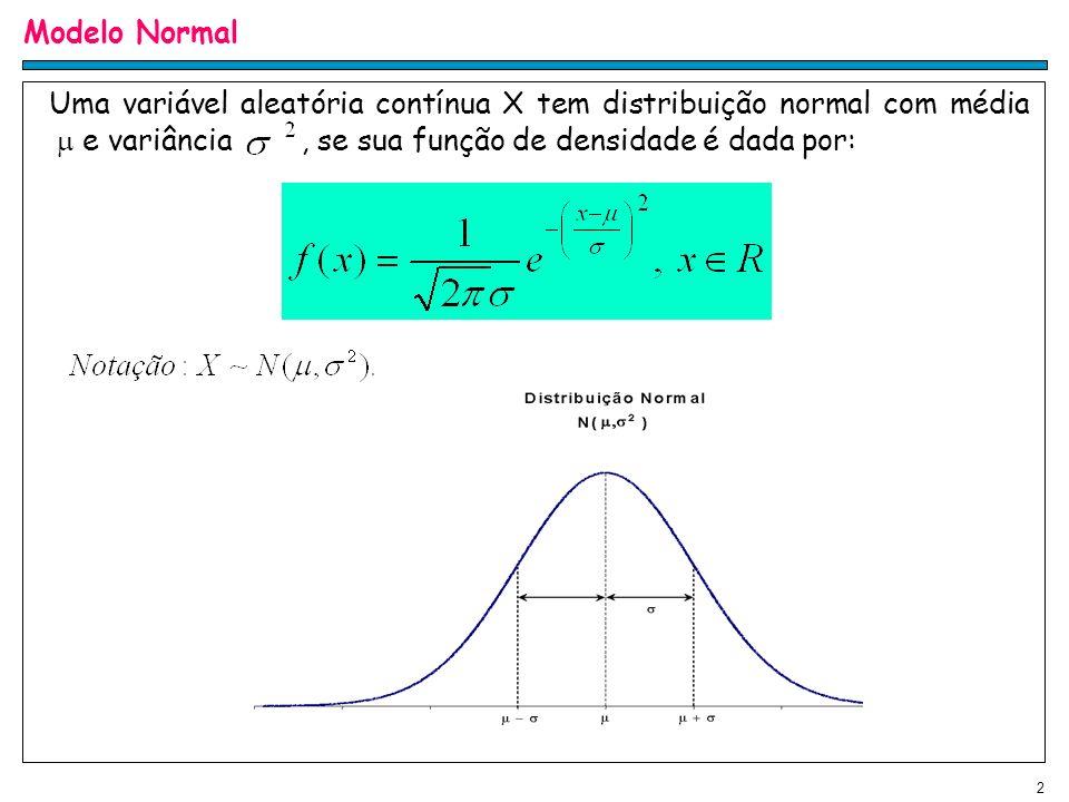 Modelo Normal Uma variável aleatória contínua X tem distribuição normal com média  e variância , se sua função de densidade é dada por: