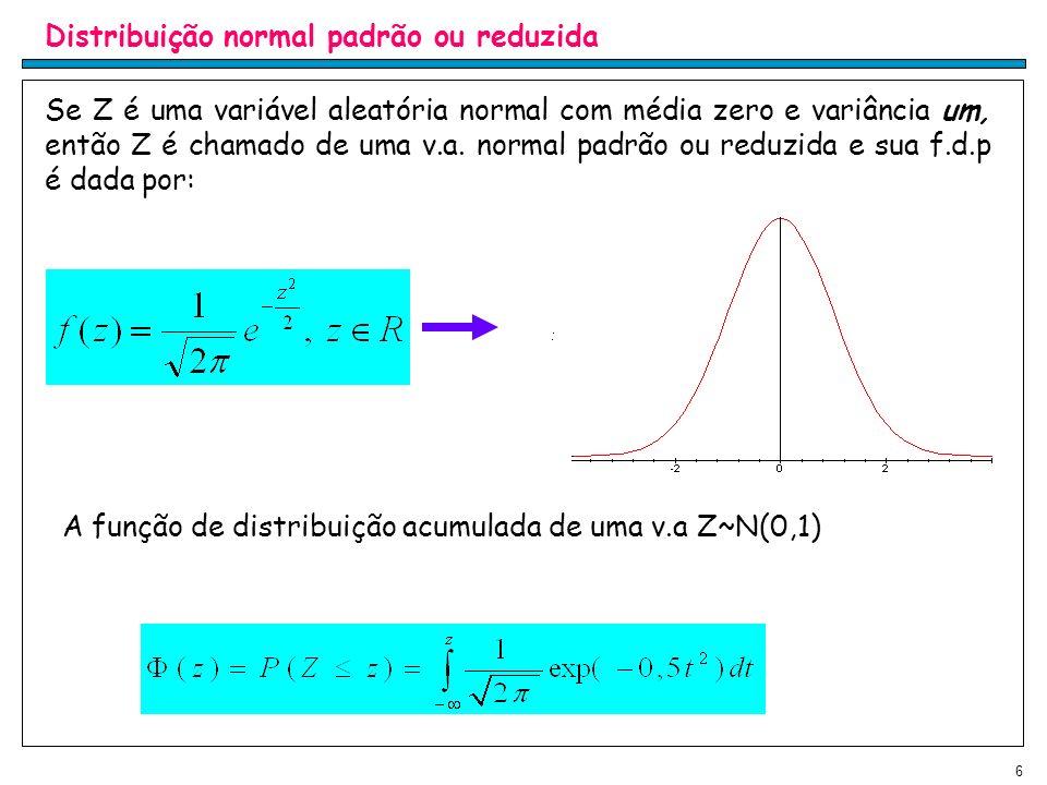 A função de distribuição acumulada de uma v.a Z~N(0,1) d