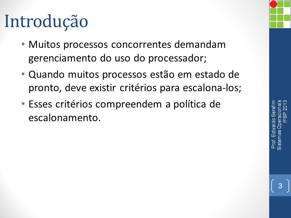 Introdução Muitos processos concorrentes demandam gerenciamento do uso do processador;