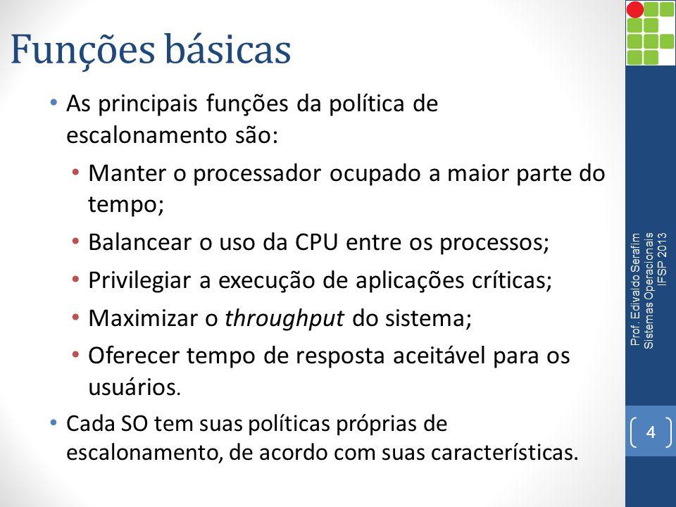 Funções básicas As principais funções da política de escalonamento são: Manter o processador ocupado a maior parte do tempo;