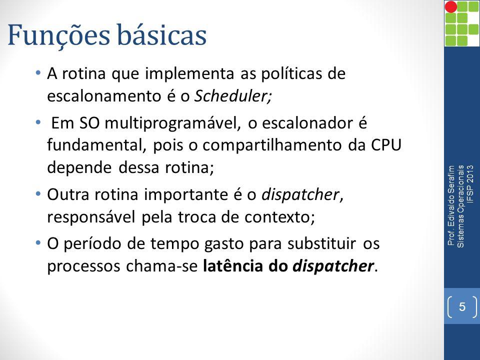 Funções básicas A rotina que implementa as políticas de escalonamento é o Scheduler;