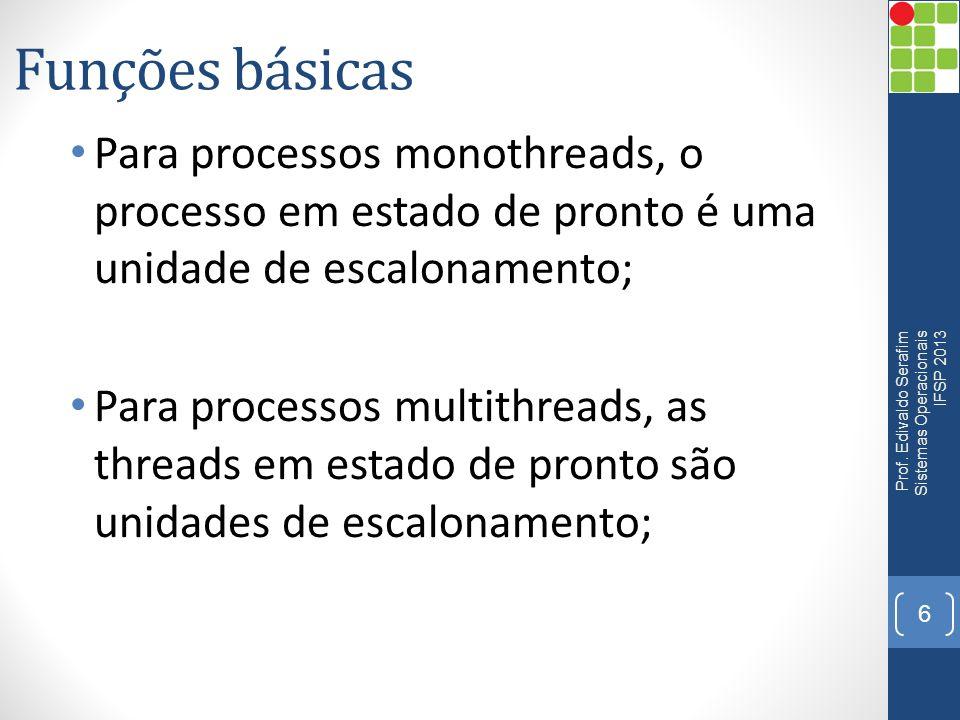 Funções básicas Para processos monothreads, o processo em estado de pronto é uma unidade de escalonamento;