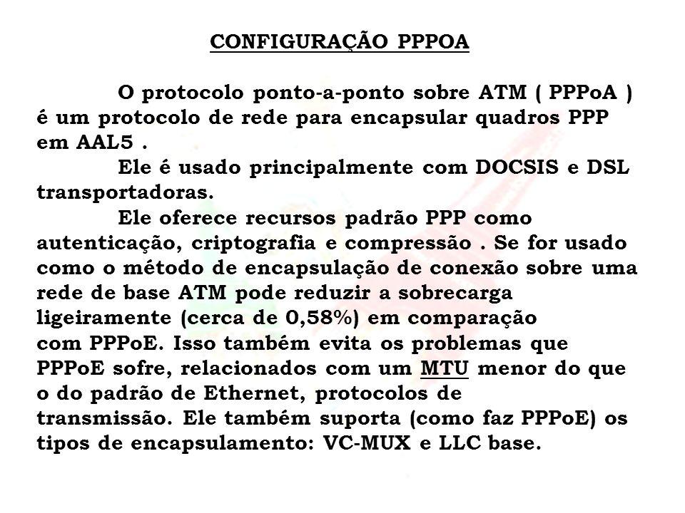 CONFIGURAÇÃO PPPOA O protocolo ponto-a-ponto sobre ATM ( PPPoA ) é um protocolo de rede para encapsular quadros PPP em AAL5 .