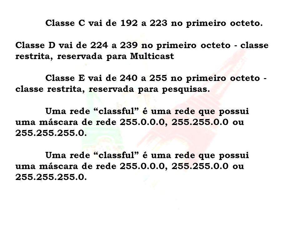 Classe C vai de 192 a 223 no primeiro octeto.