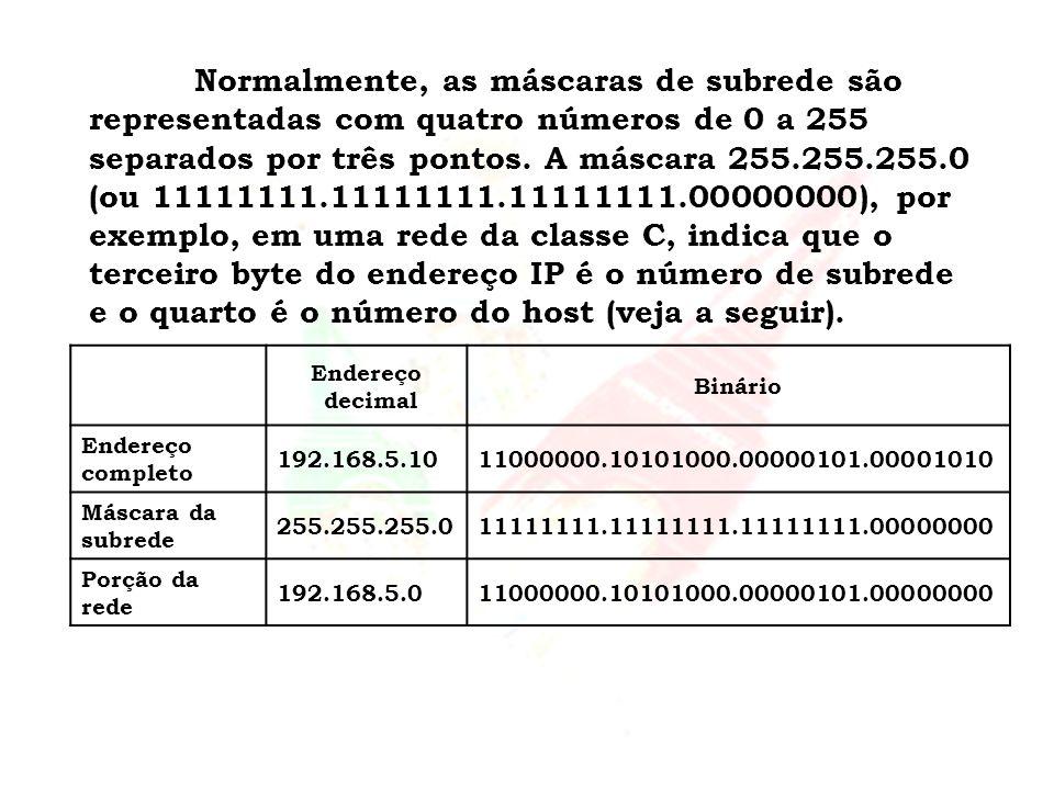 Normalmente, as máscaras de subrede são representadas com quatro números de 0 a 255 separados por três pontos. A máscara 255.255.255.0 (ou 11111111.11111111.11111111.00000000), por exemplo, em uma rede da classe C, indica que o terceiro byte do endereço IP é o número de subrede e o quarto é o número do host (veja a seguir).