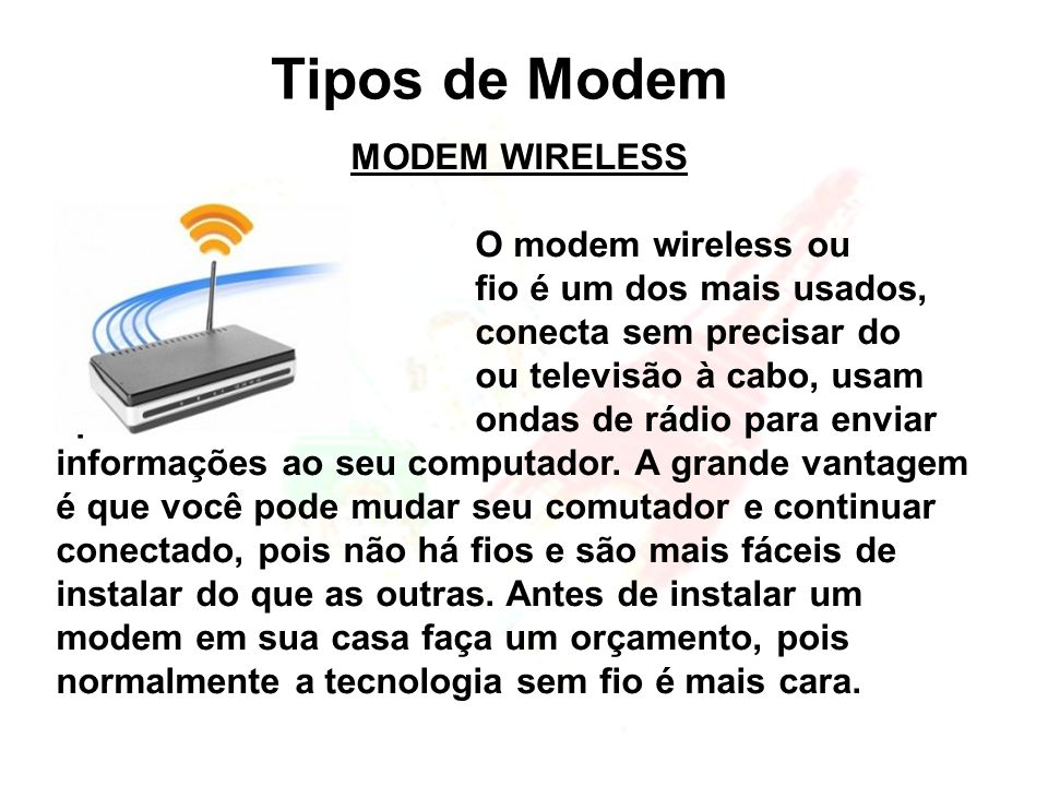 Tipos de Modem MODEM WIRELESS
