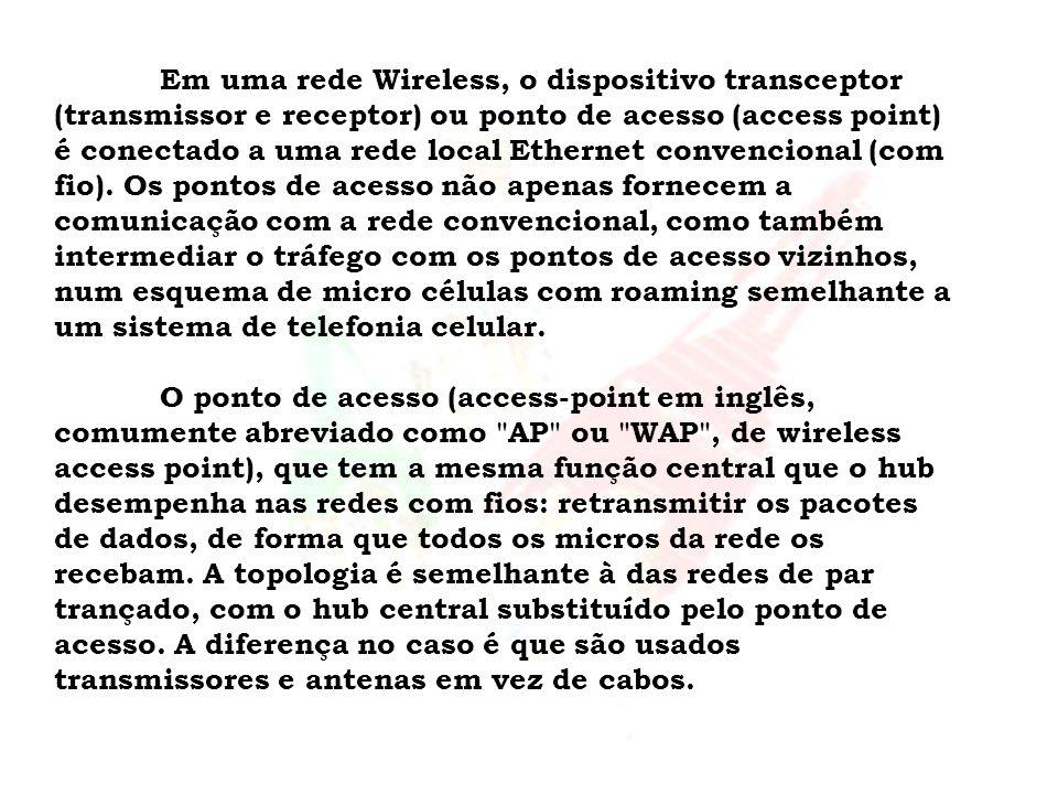 Em uma rede Wireless, o dispositivo transceptor (transmissor e receptor) ou ponto de acesso (access point) é conectado a uma rede local Ethernet convencional (com fio).