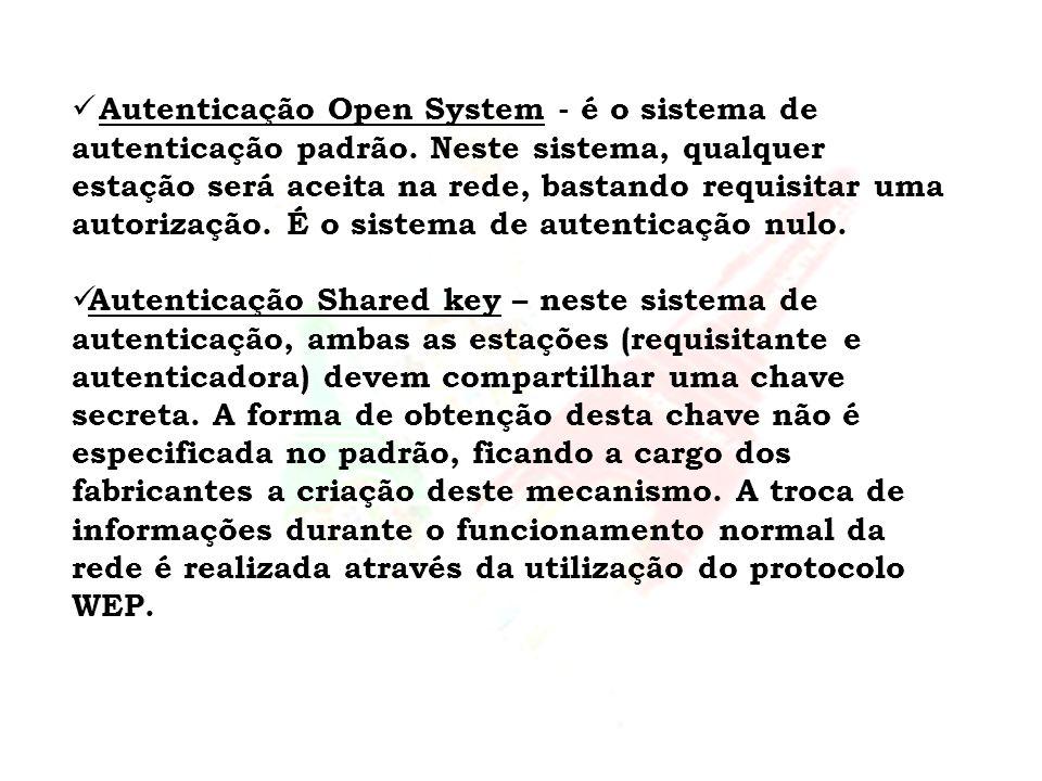 Autenticação Open System - é o sistema de autenticação padrão
