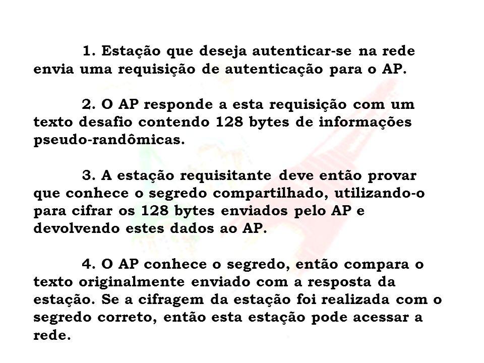 1. Estação que deseja autenticar-se na rede envia uma requisição de autenticação para o AP.