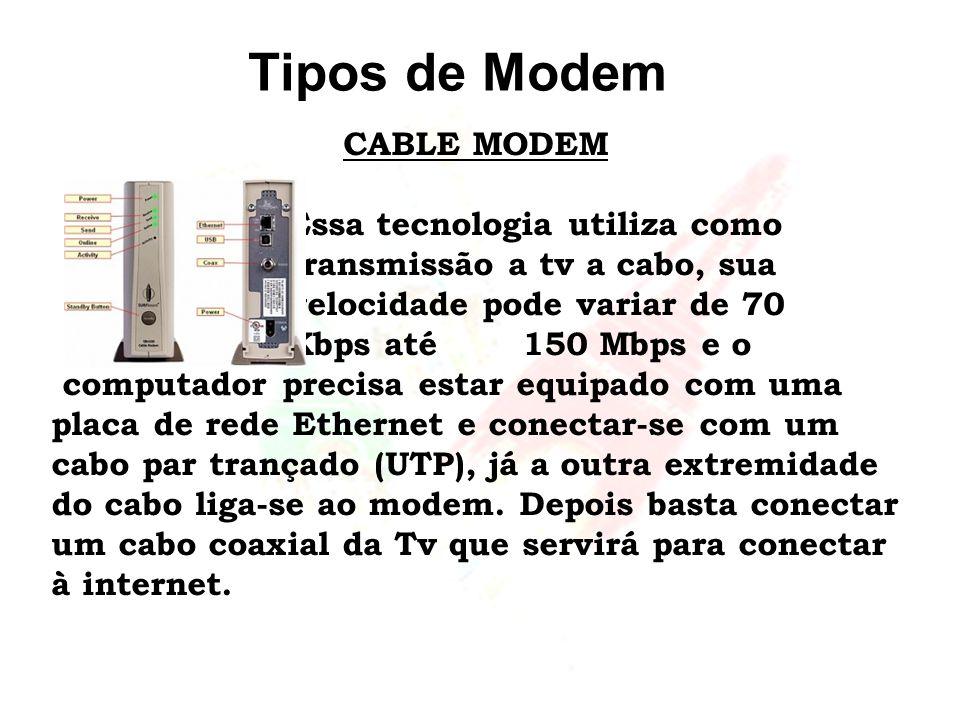 Tipos de Modem CABLE MODEM Essa tecnologia utiliza como