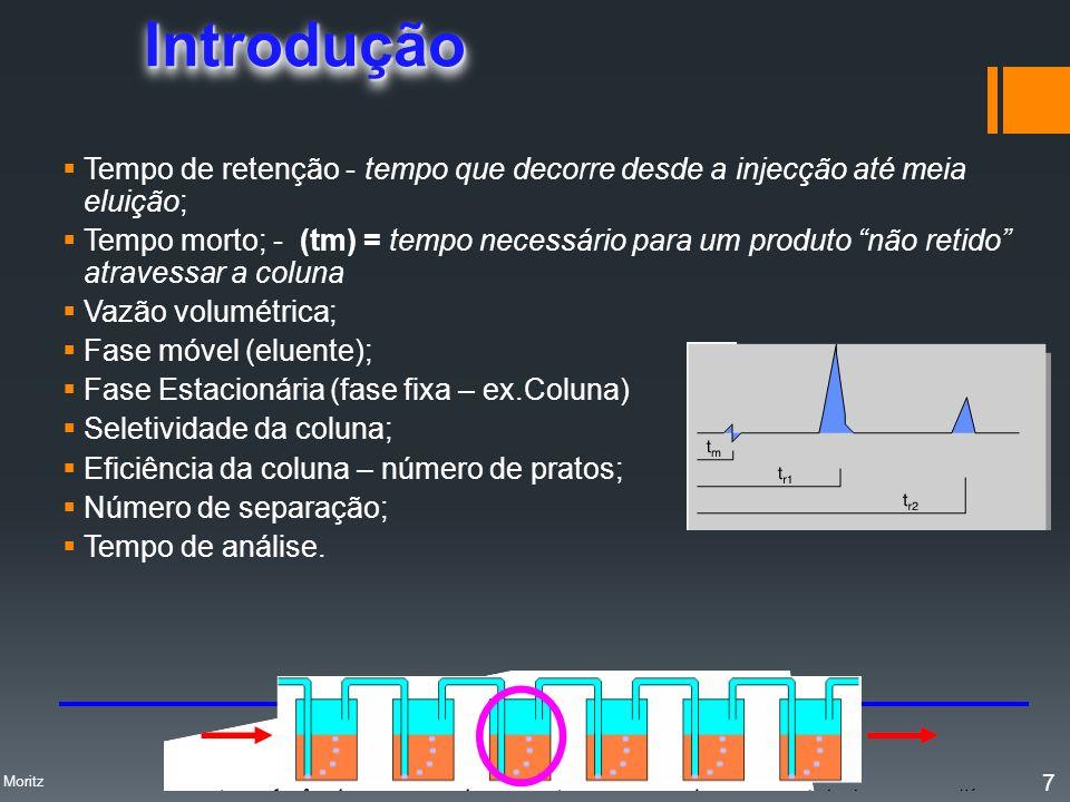 Introdução Tempo de retenção - tempo que decorre desde a injecção até meia eluição;
