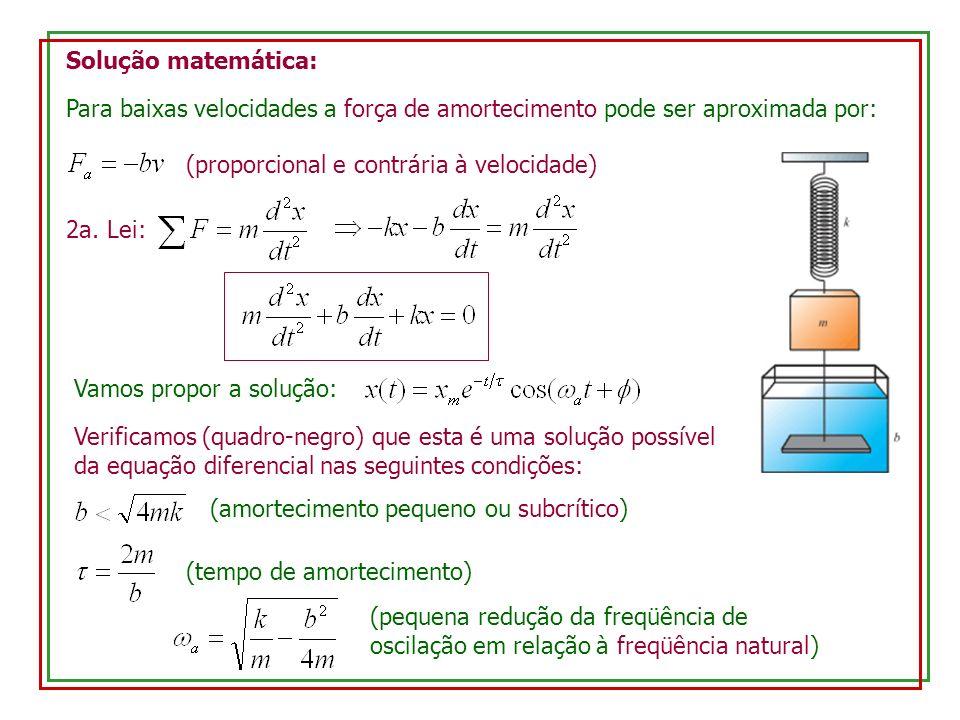 Solução matemática: Para baixas velocidades a força de amortecimento pode ser aproximada por: (proporcional e contrária à velocidade)