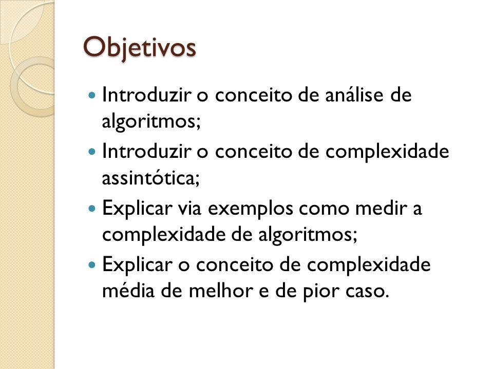 Objetivos Introduzir o conceito de análise de algoritmos;