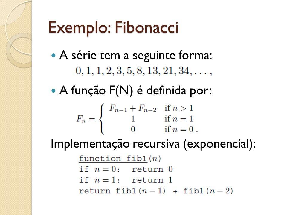 Exemplo: Fibonacci A série tem a seguinte forma: