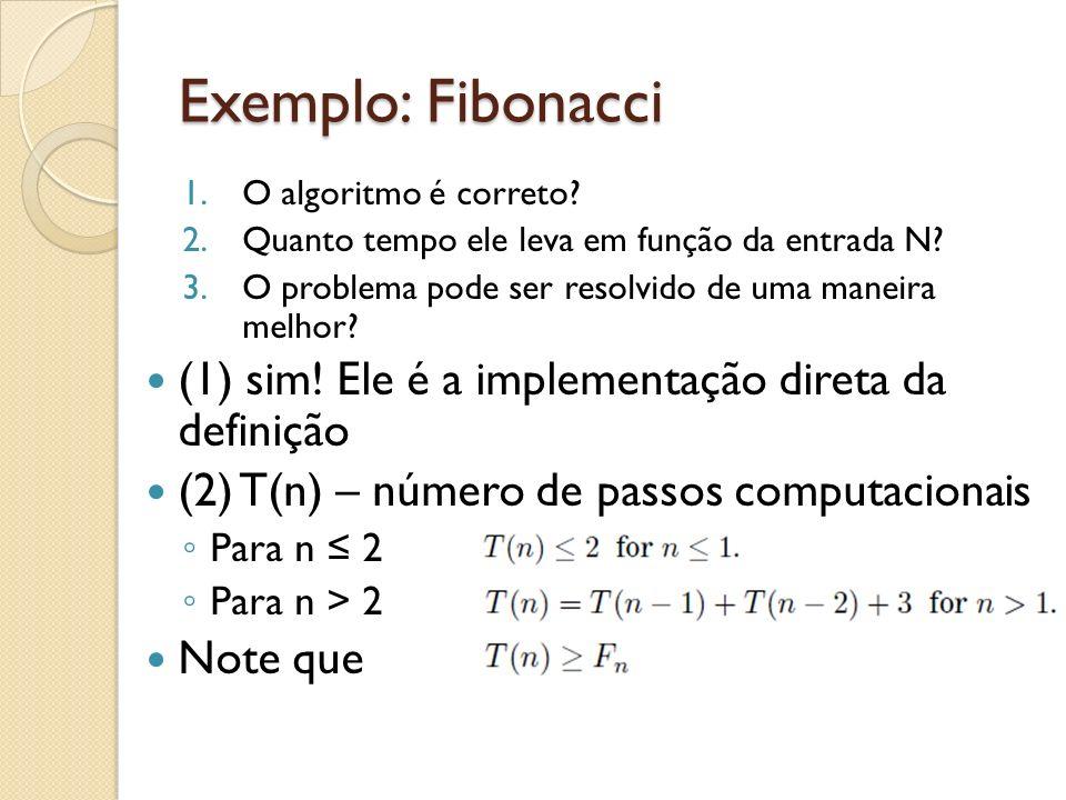Exemplo: Fibonacci (1) sim! Ele é a implementação direta da definição
