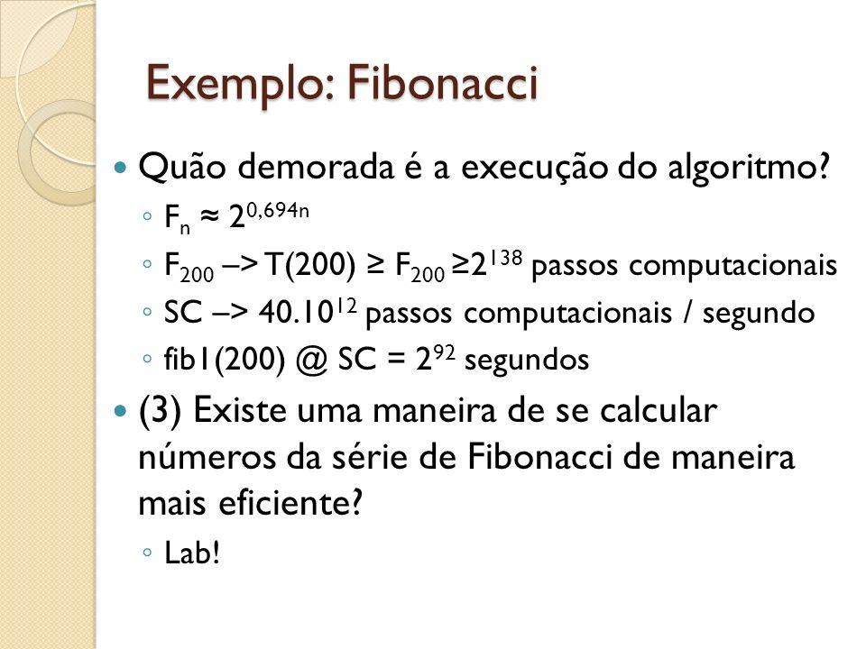 Exemplo: Fibonacci Quão demorada é a execução do algoritmo