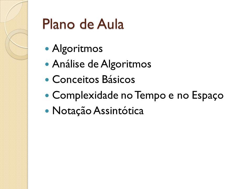 Plano de Aula Algoritmos Análise de Algoritmos Conceitos Básicos
