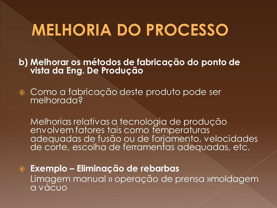 MELHORIA DO PROCESSO b) Melhorar os métodos de fabricação do ponto de vista da Eng. De Produção. Como a fabricação deste produto pode ser melhorada
