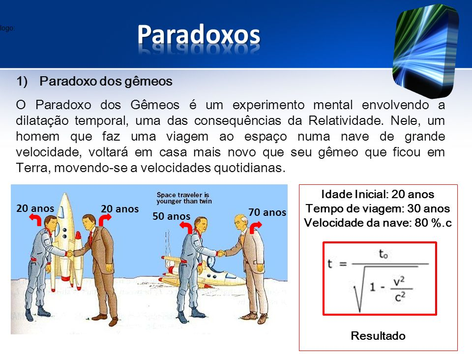 Paradoxos Paradoxo dos gêmeos