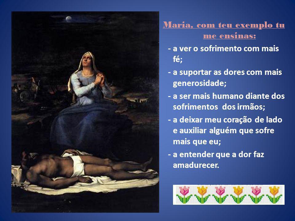 Maria, com teu exemplo tu me ensinas: - a ver o sofrimento com mais fé; - a suportar as dores com mais generosidade; - a ser mais humano diante dos sofrimentos dos irmãos; - a deixar meu coração de lado e auxiliar alguém que sofre mais que eu; - a entender que a dor faz amadurecer.