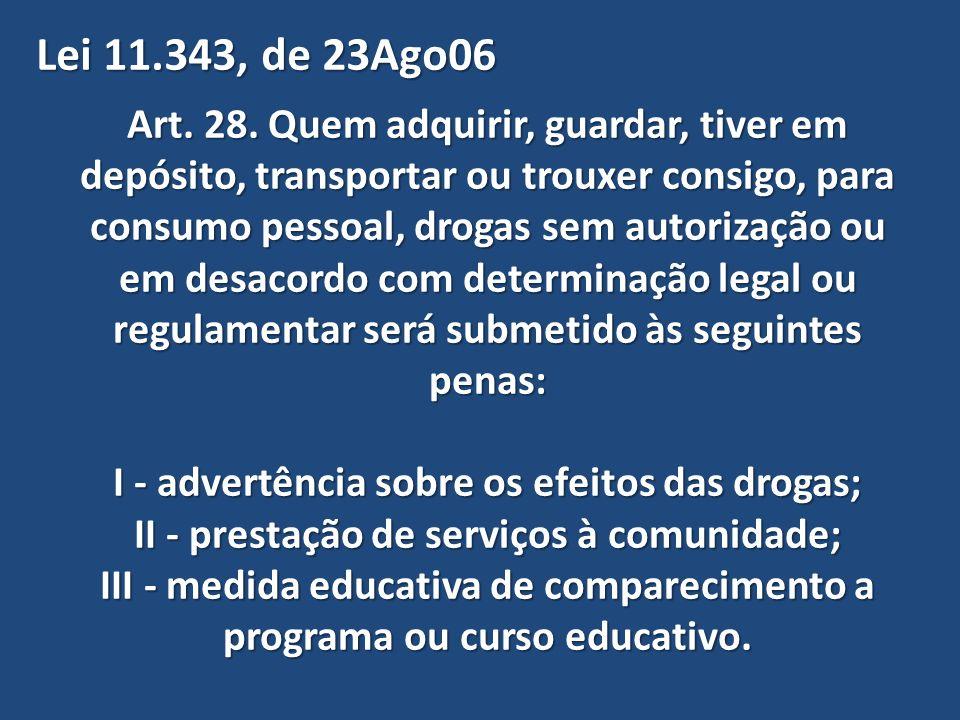 Lei 11.343, de 23Ago06 Art. 28. Quem adquirir, guardar, tiver em depósito, transportar ou trouxer consigo, para.