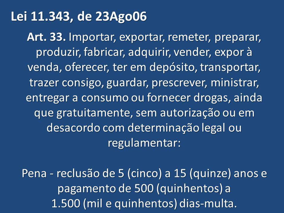 Lei 11.343, de 23Ago06 Art. 33. Importar, exportar, remeter, preparar, produzir, fabricar, adquirir, vender, expor à.