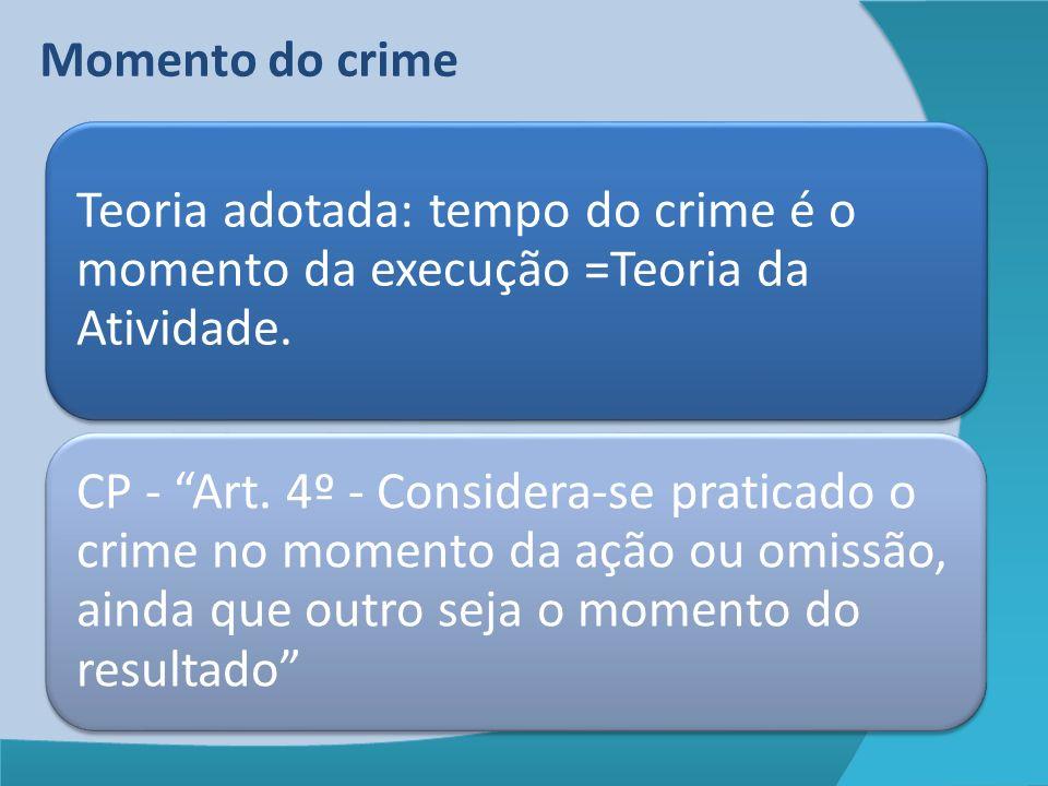 Momento do crime Teoria adotada: tempo do crime é o momento da execução =Teoria da Atividade.