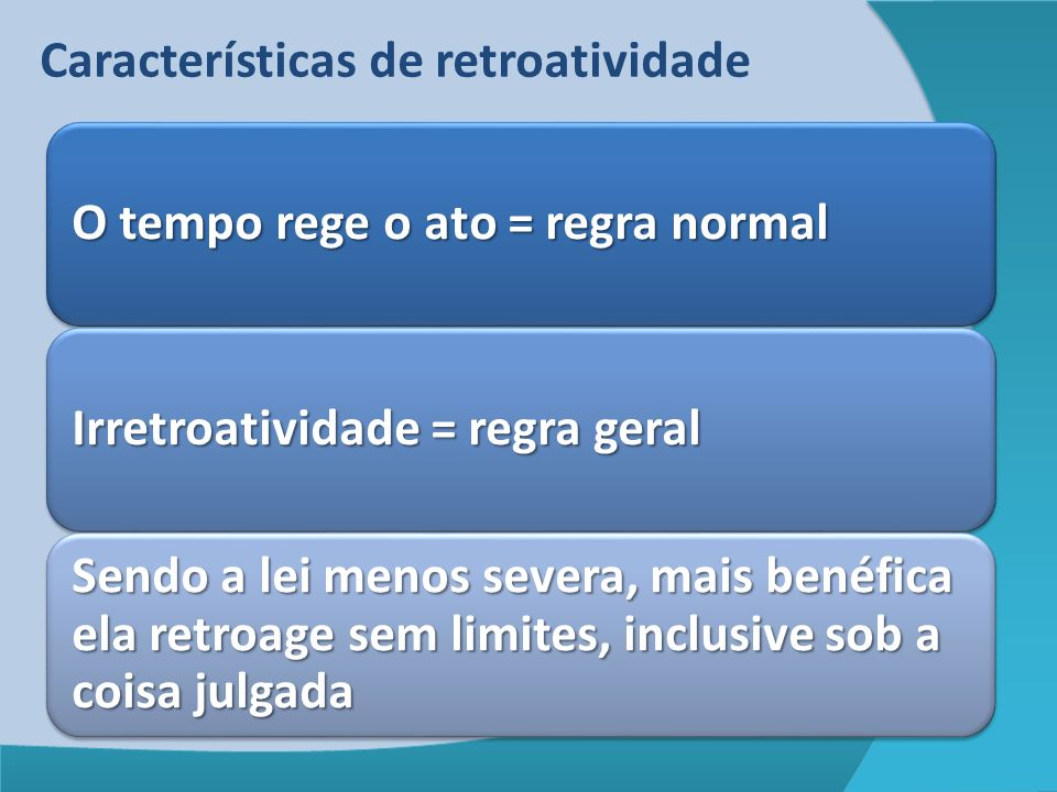 Características de retroatividade