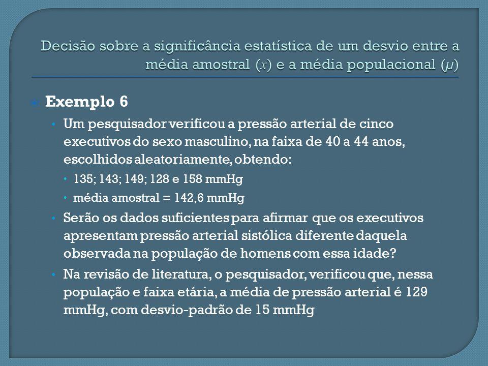 Decisão sobre a significância estatística de um desvio entre a média amostral (x) e a média populacional (µ)