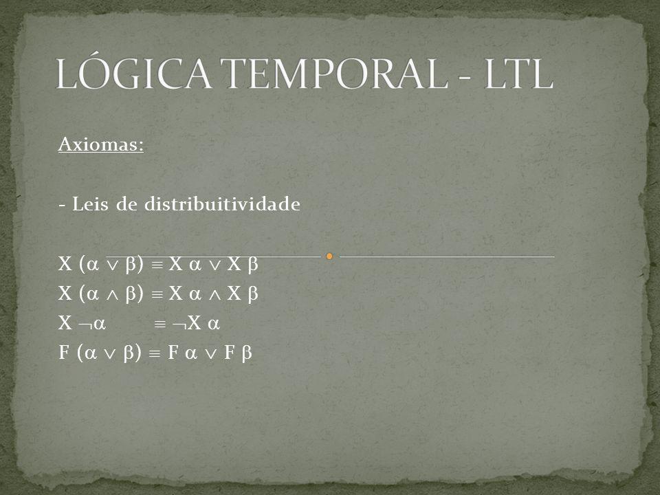 LÓGICA TEMPORAL - LTL Axiomas: - Leis de distribuitividade