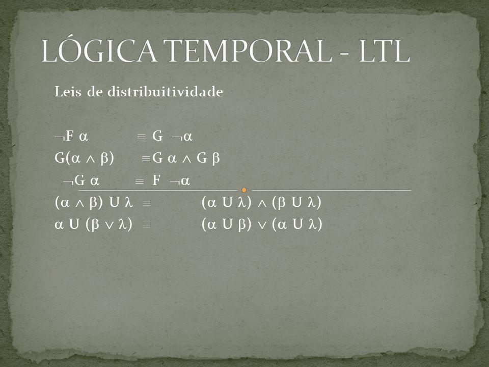 LÓGICA TEMPORAL - LTL Leis de distribuitividade F   G 