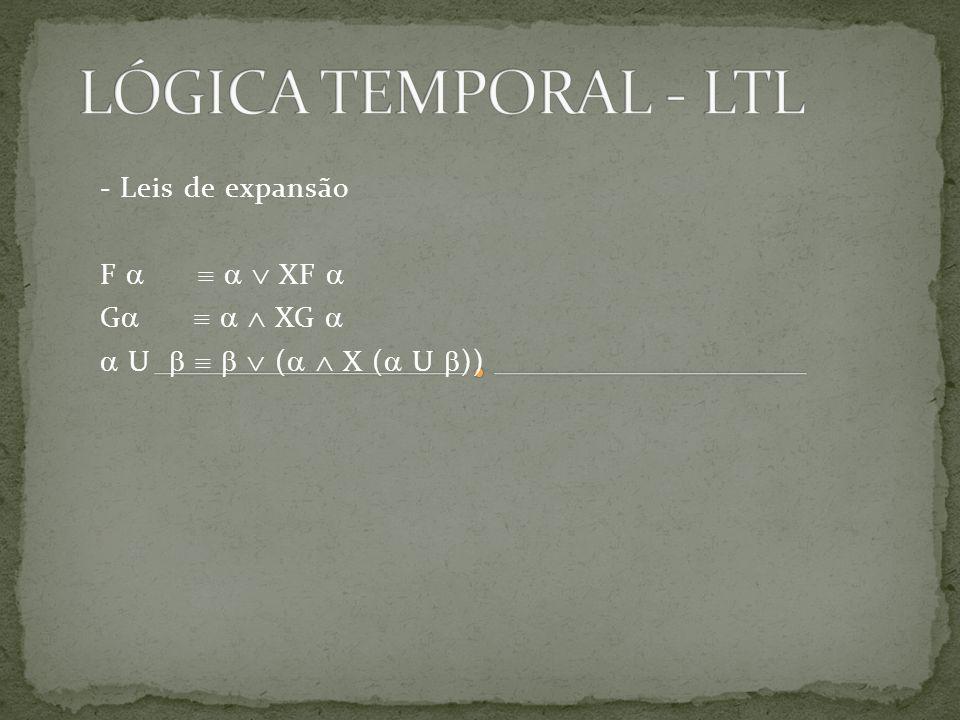 LÓGICA TEMPORAL - LTL - Leis de expansão F     XF  G    XG 