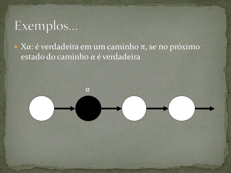 Exemplos… Xα: é verdadeira em um caminho π, se no próximo estado do caminho α é verdadeira α