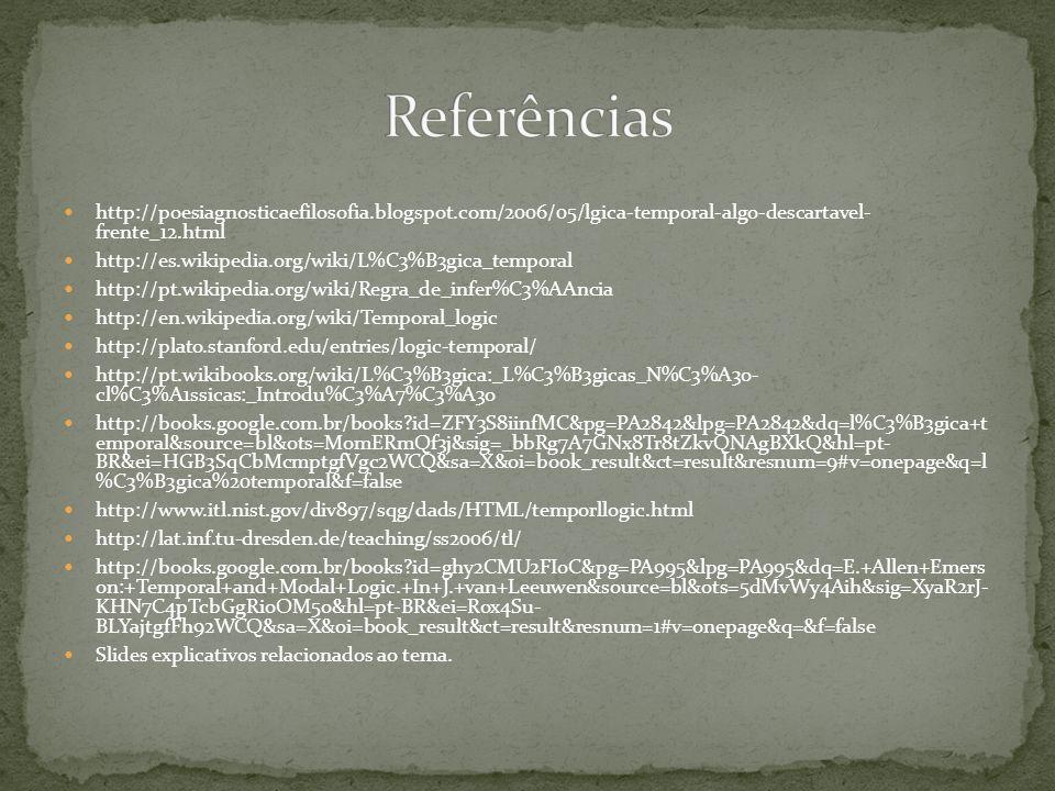 Referências http://poesiagnosticaefilosofia.blogspot.com/2006/05/lgica-temporal-algo-descartavel- frente_12.html.