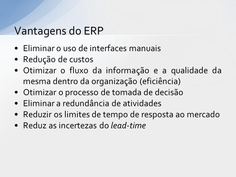 Vantagens do ERP Eliminar o uso de interfaces manuais