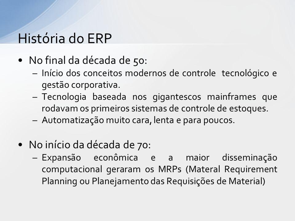 História do ERP No final da década de 50: No início da década de 70: