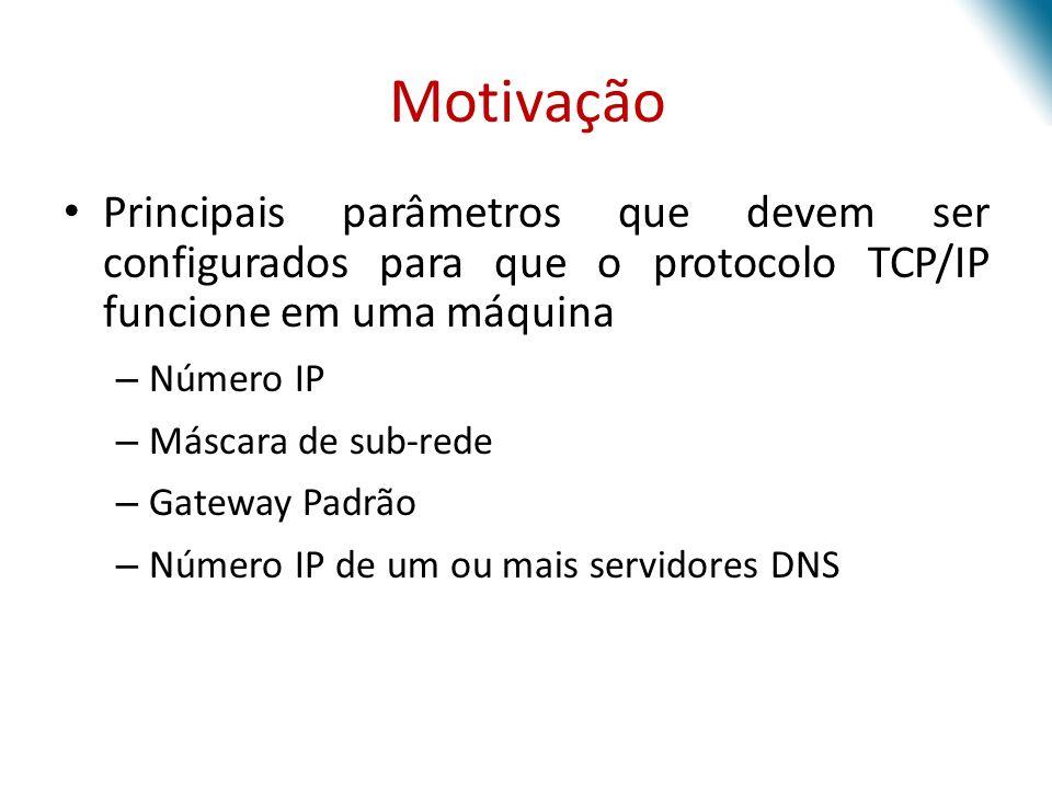 Motivação Principais parâmetros que devem ser configurados para que o protocolo TCP/IP funcione em uma máquina.