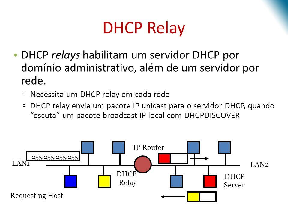 DHCP Relay DHCP relays habilitam um servidor DHCP por domínio administrativo, além de um servidor por rede.