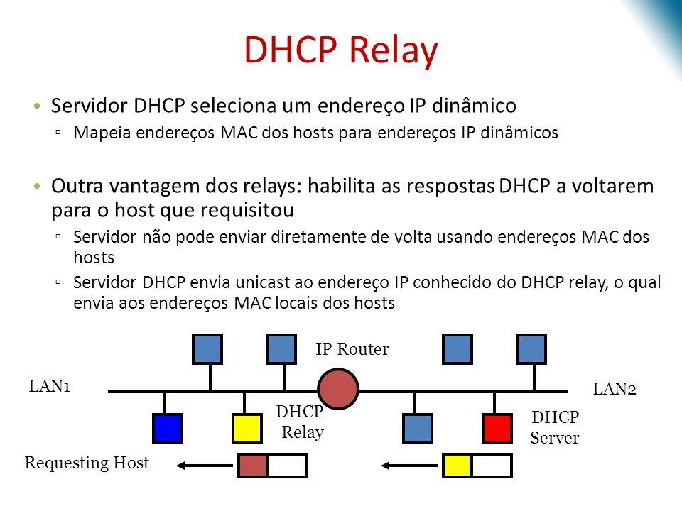 DHCP Relay Servidor DHCP seleciona um endereço IP dinâmico