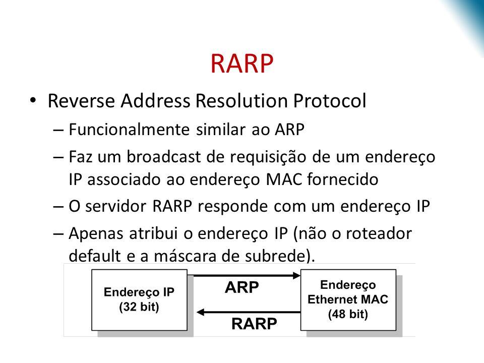 RARP Reverse Address Resolution Protocol Funcionalmente similar ao ARP