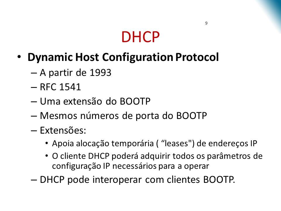 DHCP Dynamic Host Configuration Protocol A partir de 1993 RFC 1541